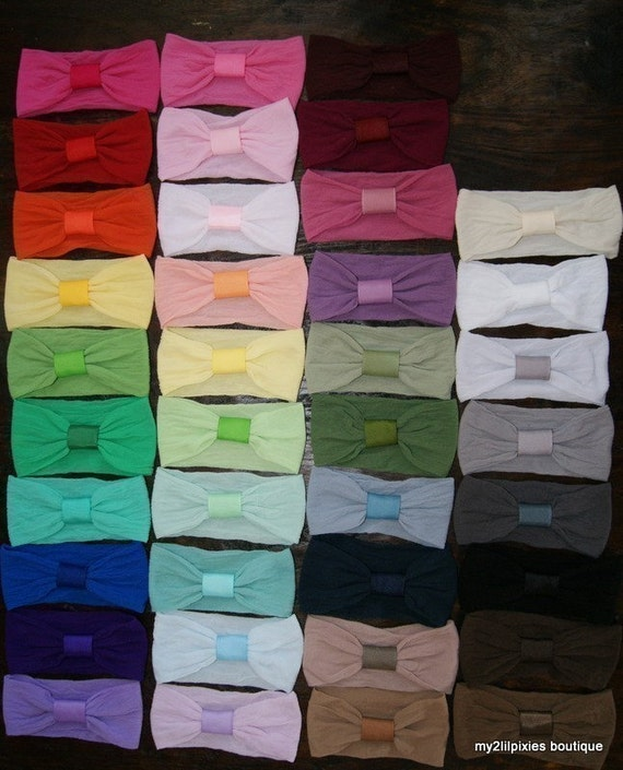 FREE HAIR BOW WITH THIS LOT  Huge pick 5  interchangeable Nylon Headbands for Hairbows - TONS of Colors to Choose From