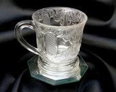 Remember Me Mug Cup Antique EAPG Stippled Glass Circa 1880's