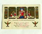 1915 Ye Jollie Christmastide Embossed Christmas Postcard