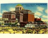 Atlantic City N.J. Vintage Postcard Beach Scene, Hotels 1930's