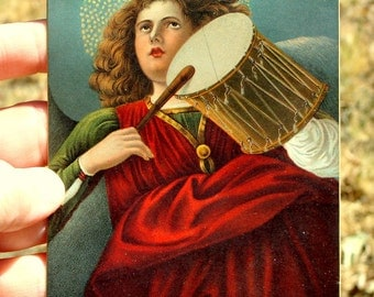 Angel with Drum Postcard, Classic Art Antique Collectible Post Card, Melozzo da Forli, italy