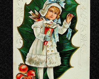 Victorian Girl Antique Postcard Christmas 1912; Embossed
