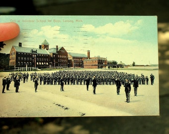 Drill at Industrial School for Boys 1910 Postcard, Lansing Mich