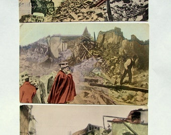 Set of Three 1908 Earthquake Tsunami Italy Vintage Postcard, Natural Disaster, Catastrophic Earth
