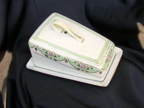 Antique Moriage Nippon Rising Sun Cheese Keeper, Fine China