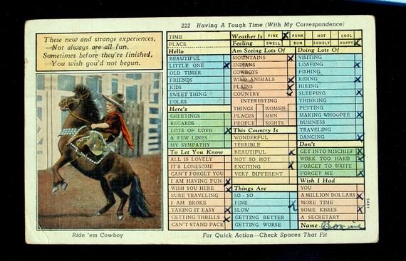 Little Cowboy Miniature Show Horse Vintage Postcard 1939