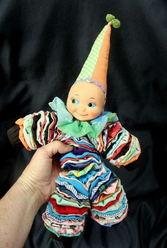Handsewn Quilted Yo Yo Cloth Clown Doll,  Dunce Hat, Collectible Toy
