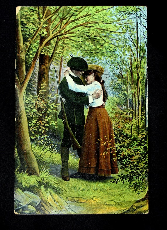 Old Vintage Soldier Postcard,  Welcome Home, Lovers