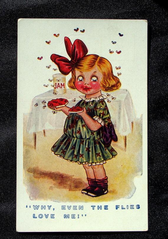 Kid Comic Goggle Eyes Little Girl Vintage Postcard