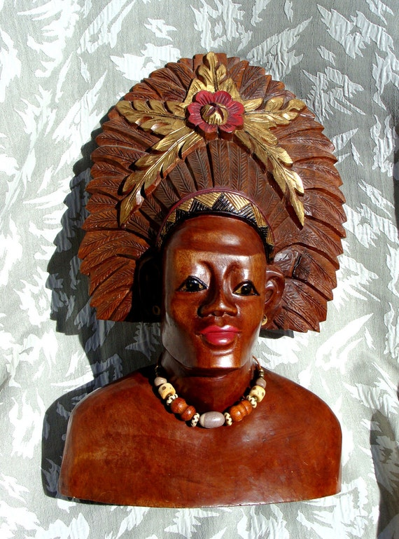 Vintage Hand Carved Wooden Sculptured African Head Bust, Handpainted with Necklace