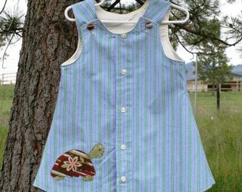 Upcycled Dress - Myrtle the Turtle 2T Handmade Upcycled Toddler Dress and Bloomer Set