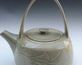 Pale Green Celadon Teapot with Wave Fold Pattern