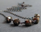 Pyrite Necklace in Oxidized Sterling Silver, Handmade Modern Gemstone Necklace, aubepine