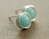 March Birthday Sky Blue Post Earrings, Amazonite Wrapped in Sterling Silver, Handmade Gemstone Earrings, aubepine