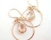 Sunstone Chandelier Earrings, Gold Hoop Earrings, Peach Gemstone Earrings, Sunstone Jewelry, aubepine