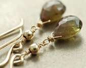 Dangly Tawny Brown Green Gemstone Gold Earrings, Wire Wrap Andalusite Earrings Handmade