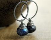 Sterling Silver Earrings, Spectrolite Labradorite Navy Blue Gemstone, Handmade, Midnight