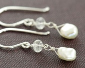 Dainty Pearl Topaz Dangle Earrings Sterling Silver, June Birthstone Keishi Pearl Wire Wrapped, aubepine