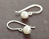 Pearl Jewelry, June Birthday Earrings, Simple Sterling Silver Pearl Dangle Earrings, Handmade