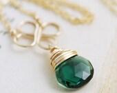 Green Gemstone Necklace 14k Gold Fill, Emerald Green Pendant, Handmade Clover Necklace