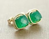 Emerald Green Onyx Gemstone Earrings, May Birthday Jewelry, Gold Post Earrings