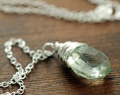Green Amethyst Necklace in Sterling Silver, February Birthstone, Wire Wrap Handmade Gemstone Necklace, aubepine