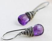 Amethyst Earrings Wrapped in Sterling Silver, February Birthstone, Purple Gemstone Dangle Earrings, aubepine