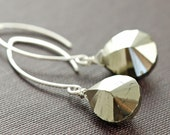 Pyrite Earrings in Sterling Silver, Gemstone Dangle Earrings, Glam Rock, aubepine