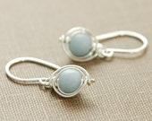 Gray Stone Earrings in Sterling Silver, Angelite Gemstone Wire Wrapped Dangle Handmade, aubepine
