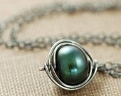 Green Pearl Necklace Sterling Silver, Wire Wrap Pendant Handmade, Winter Fashion