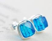 Aqua Blue Quartz Post Silver Earrings Gemstone Cubes, Wire Wrapped Handmade, aubepine