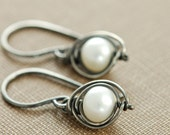 Pearl Sterling Silver Earrings Handmade Oxidized, Ash and Snow, aubepine