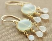 Chandelier Earrings, Moonstone Chalcedony 14k Gold Fill, Mint Green Gemstone Earrings Wire Wrapped
