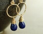 Lapis Lazuli Gold Hoop Earrings, September Birthstone Navy Blue Gemstone Dangle Earrings, Handmade Earrings, aubepine