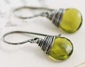 Olive Green Stone Earrings in Sterling Silver, Gemstone Dangle Earrings Handmade, aubepine