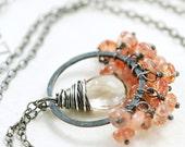 Sunstone and Quartz Necklace Sterling Silver Handmade Gemstone Pendant