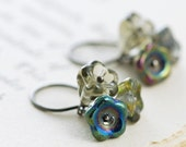 Flower Earrings, Sterling Silver Navy Blue Smoky Grey Glass, Spring Floral Dangle Earrings, aubepine