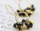 Black and Gold Earrings, 14k Gold Fill Hoop Earrings, Gemstone Clusters, Party Jewelry