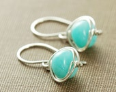Sky Blue Gemstone Earrings Sterling Silver, Amazonite Wire Wrap Handmade Jewelry, aubepine
