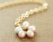Peach Pearl Flower Necklace in 14k Gold Fill, Mother's Day Pendant Necklace, June Birthstone Jewelry, aubepine
