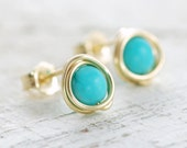 Turquoise Post Earrings Wrapped in 14k Gold Fill, December Birthstone Jewelry, Handmade, aubepine