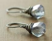 Silver Dangle Earrings, Blue Twist Briolettes Wrapped in Sterling Silver