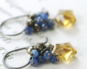 Starry Night Earrings, Quartz Sapphire Sterling Silver Stars, Handmade