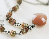 Sterling Silver Moonstone Necklace, Mocha Gemstone Pendant, Bohemian Jewelry, aubepine