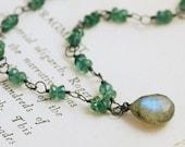 Green Blue Gemstone Necklace Sterling Silver, Handmade Statement Necklace with Labradorite Apatite, Mermaid, aubepine