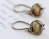 Autumn Gemstone Dangle Earrings, Sterling Silver Jasper Earrings, Wire Wrapped Handmade, aubepine