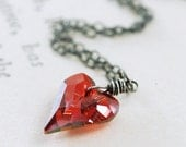 Heart Necklace in Sterling Silver, Red Crystal Wire Wrapped Pendant Necklace, Valentine's Day Jewelry