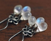 Moonstone Chandelier Earrings, Sterling Silver Gemstone Dangle Earrings, Handmade Clovers, aubepine