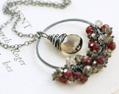 Sterling Silver Pendant Necklace, Garnet necklace with Quartz Pyrite Gemstone Clusters, January Birthstone Jewelry