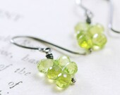 Peridot Earrings in Sterling Silver, August Birthstone Jewelry, Green Gemstone Cluster Earrings, aubepine